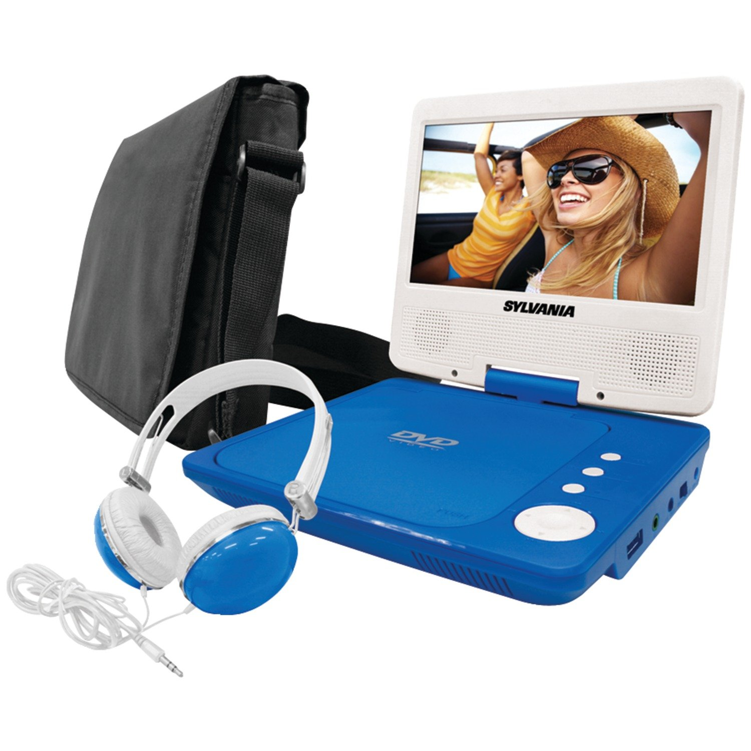 Sylvania SDVD7060-Combo-Blue 7-Inch Portable DVD Player Bundle with Matching Oversize Headphones and Deluxe Travel Bag (Blue)