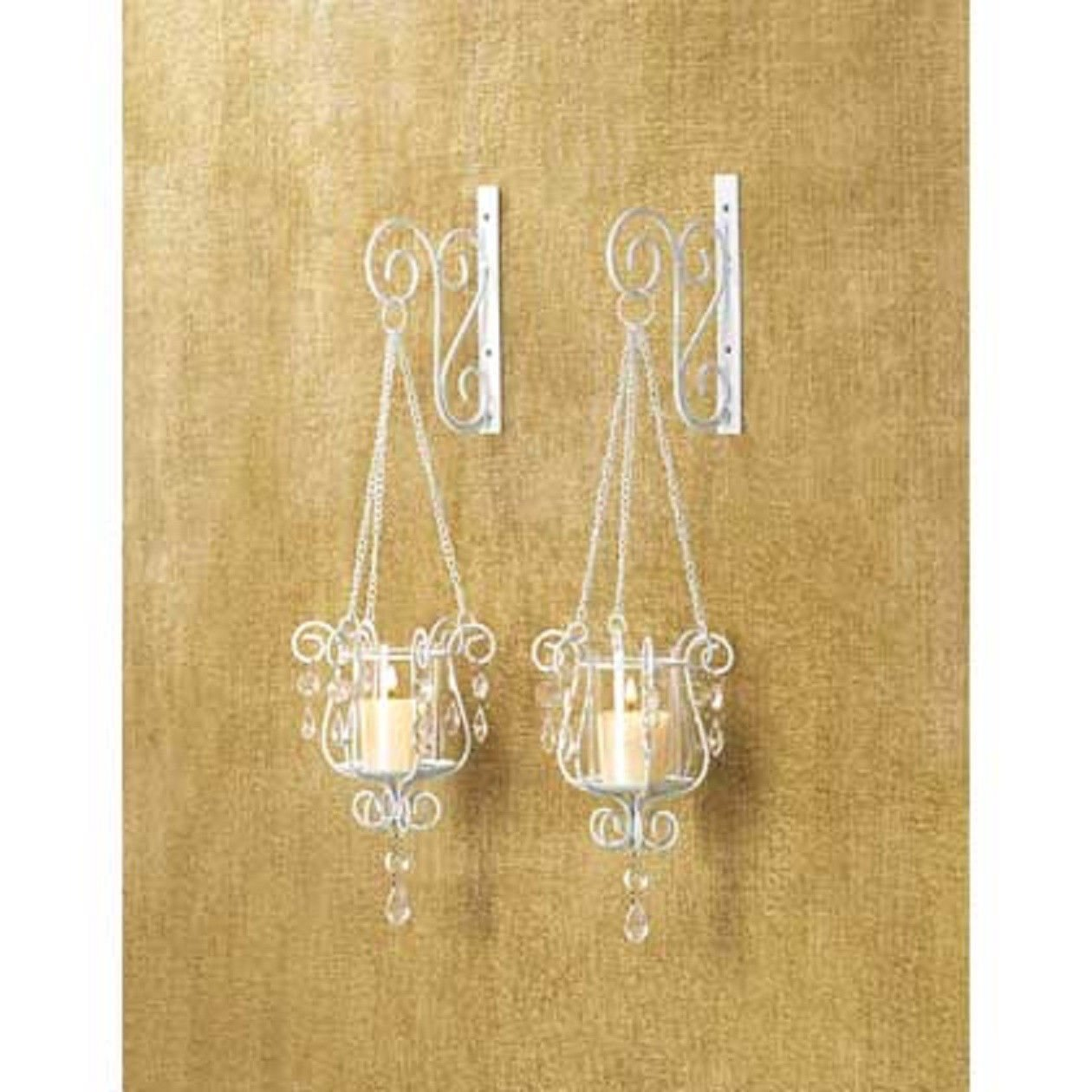 Attrayant 2 White Chic Shabby Hurricane Crystal Hanging Candle Holder Wall Sconce  Pair Set