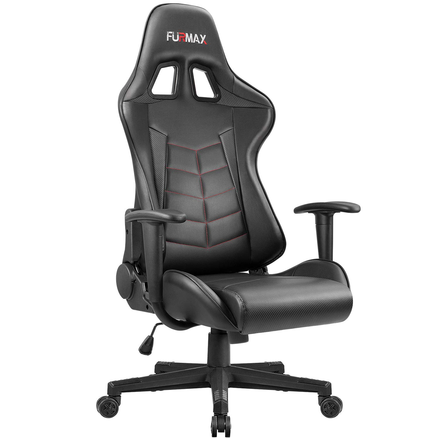 Furmax Gaming Office Chair Ergonomic High-back Racing Style Adjustable Height Executive Computer Chair,PU Leather Swivel Desk Chair with Backrest and Lumbar Support (Black)