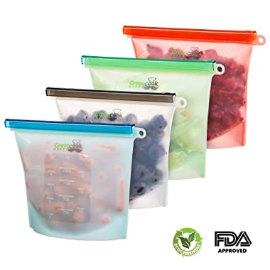 Reusable silicone food Storage Bags: 4-Pack Silicone Ziplock Food Freezer Storage Bags Set   Reusable Leakproof Food Preservation Bags Microwavable, Freezable Dishwasher Safe Sandwich/Snack/Leftovers