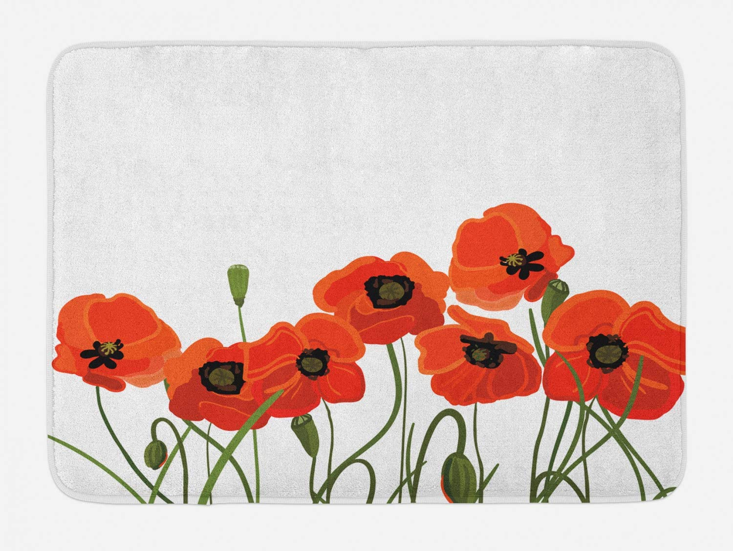"""Ambesonne Poppy Bath Mat, Efflorescing Meadow in The Backwoods Vibrant Blossoms Buds Bouquet, Plush Bathroom Decor Mat with Non Slip Backing, 29.5"""" X 17.5"""", Vermilion Green"""
