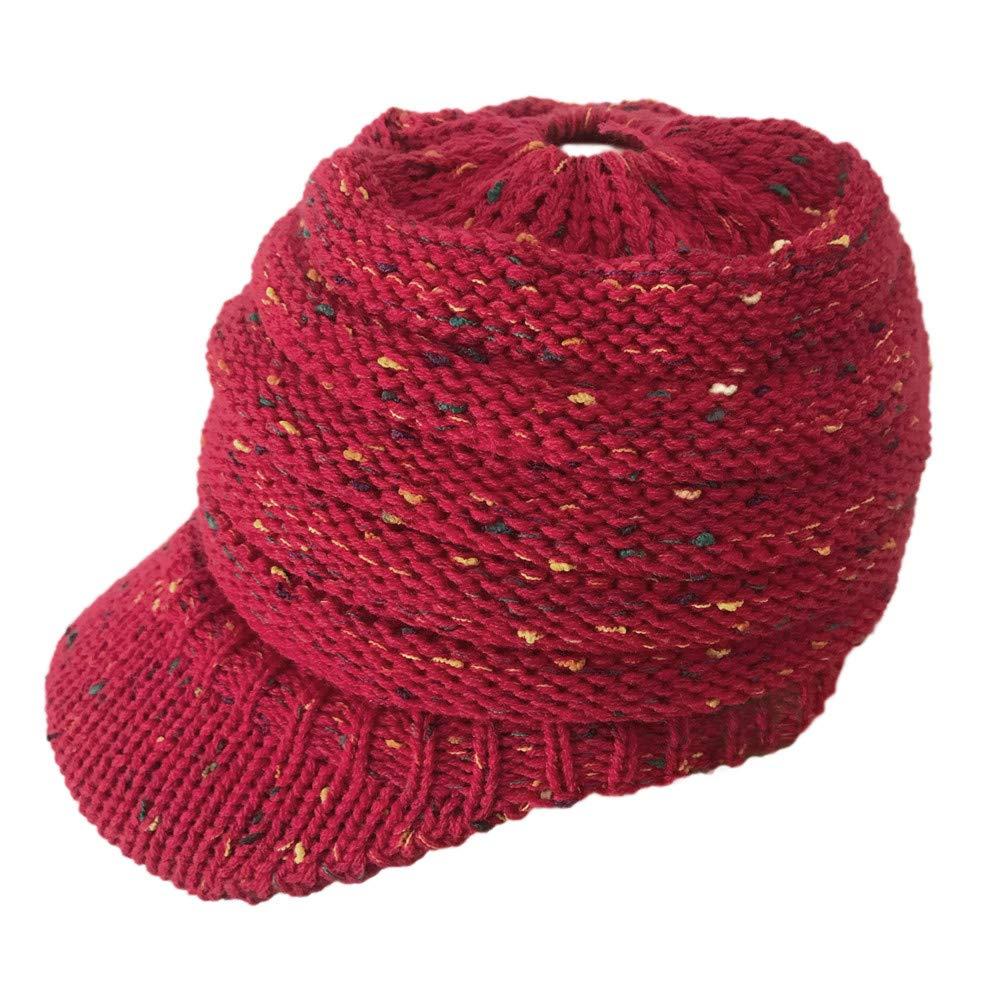 EnjoCho ❤Clearance Sale❤Hats & Caps, Women Outdoor Knitted Hats Crochet Multicolor Knit Hip-hop Cap Wool Peak Cap (Beige)