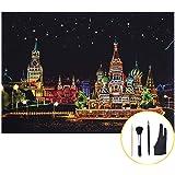 MissOrange スクラッチアート 世界の景色 夜景 スクラッチペン 刷毛 2本指グローブ セット おしゃれ 絵画 お絵かき 趣味 癒し ロシア (ロシアの風景 Russia)