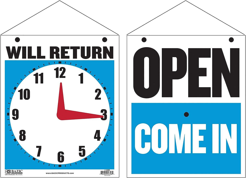 "BAZIC 7.5"" X 9"" Open Sign, Clock Will Return Will be Back, Double Sides Plastic Vinyl Signs, Business Store Office Door Window Restaurants Bars Retail Salon Shops, Waterproof Indoor Outdoor, 1-Pack"