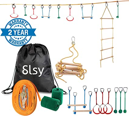 Slsy Ninja Line Obstacle Course for Kids, 40ft Slackline Hanging Monkey Bar with Climbing Ladder, Kids Warrior Training Equipment 440lb Capacity