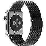 Apple Watch Bracelet, avec le Fermoir Magnétique Unique, JETech 42mm Strap Acier Inoxydable Band pour Apple Watch de Tous les Modèles Aucune Boucle nécessaires (Noir)