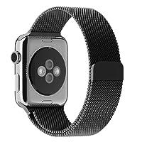 JETech Correa Reemplazable para Apple Watch 44 mm y 42 mm Series 1 2 3 4, Cerradura Magnética, Acero Inoxidable, Negro