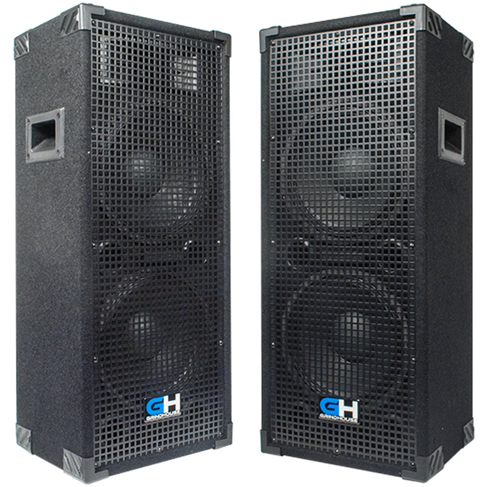 Grindhouse Speakers - GH210L-Pair - Pair of Passive Dual 10 Inch 2-Way PA/DJ Loudspeaker Cabinets - 1050 Watt each Full Range PA/DJ Band Live Sound Speaker