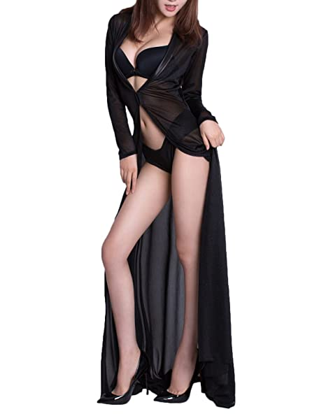 aliexpress classcic shades of Zukzi Womens Sexy Lingerie Gowns Long Black Sheer Robe With  G-String,Black,One Size
