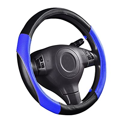 CAR PASS PVC Leather Rainbow Universal Fit Steering Wheel Cover - Blue: Automotive