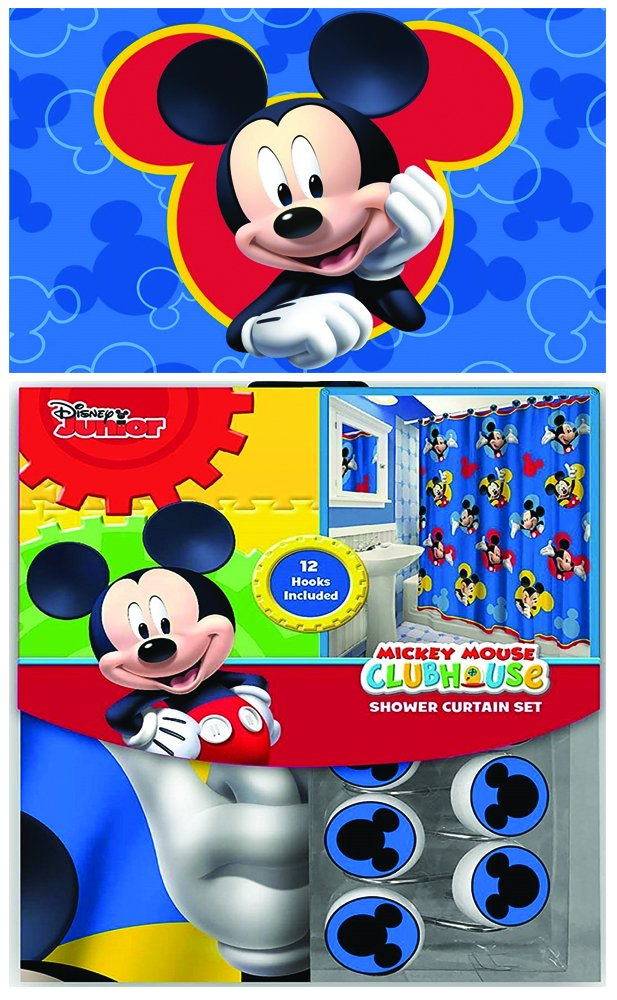 Disney Marvel New 13pcs Set (Shower Curtain with Hooks) OR 14pcs Set (Shower Curtain Set with Bath Memory Foam Mat) (Mickey Mouse, 14pcs Set - Shower Curtain set & Memory Mat)
