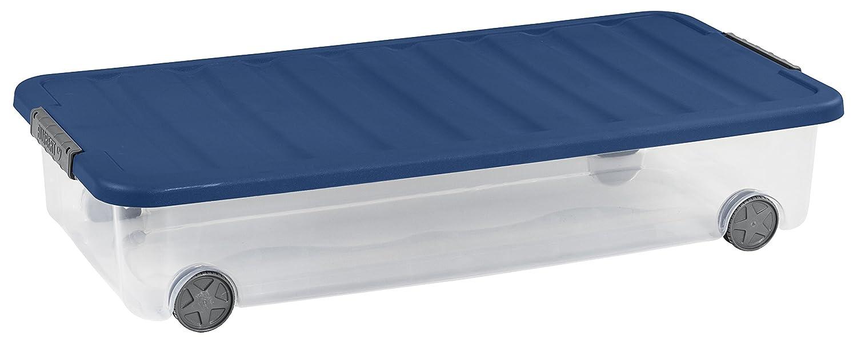 77.5 x 37.5 x 14.5 cm Plastique Transparent//Bleu Allibert 225553 Bo/îte de Rangement Dessous de Lit avec Couvercle