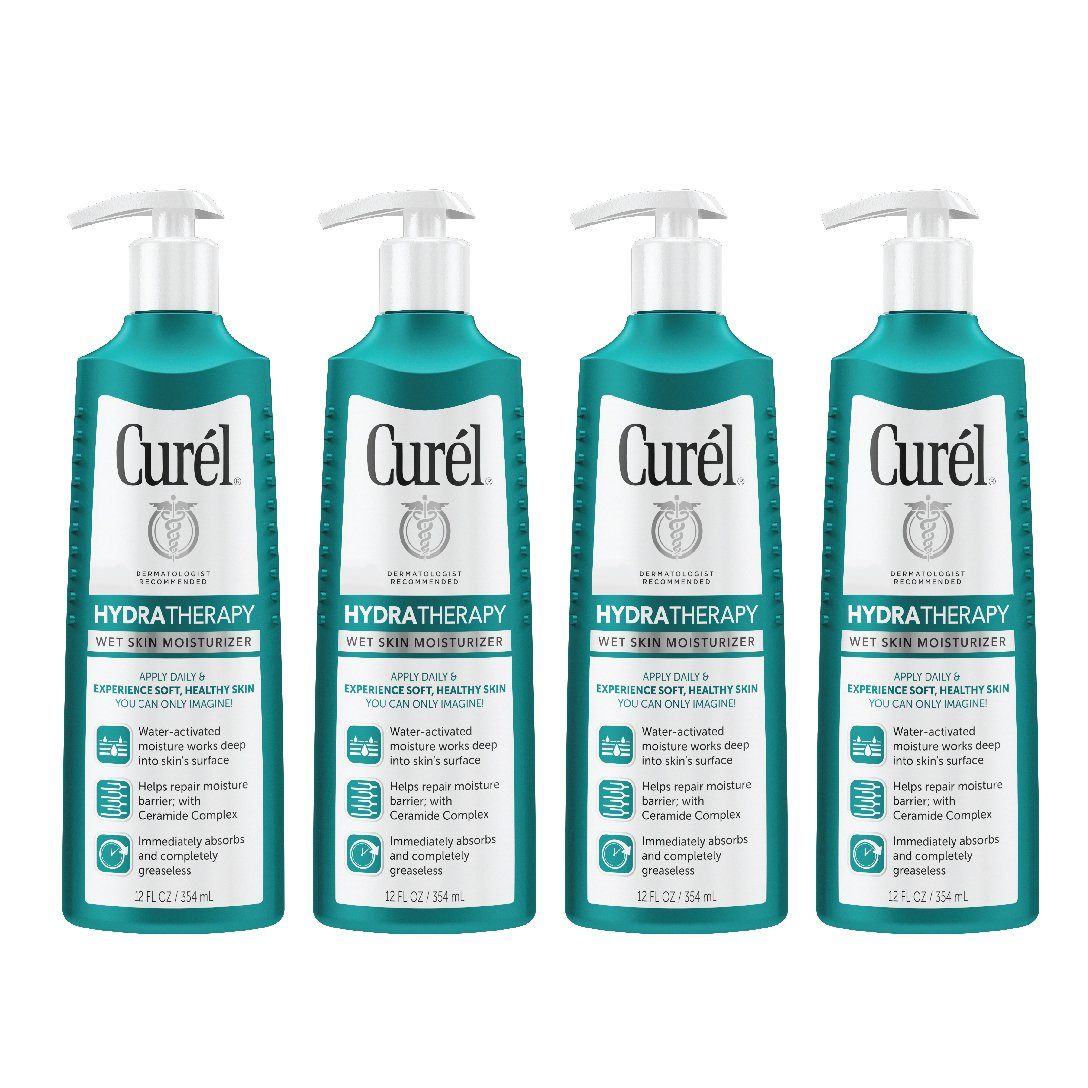 CurÃl Hydra Therapy Wet Skin Moisturizer for Dry & Extra-Dry Skin - 12 Fl. Oz (Pack of 4) by Curél Skincare