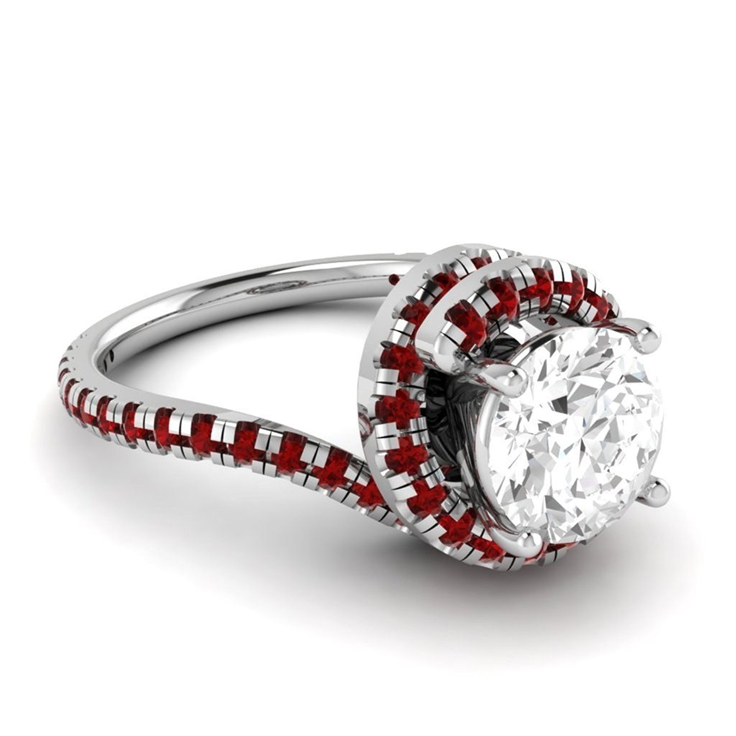 Triostar 925 Sterling Silver 14K White Gold Plated CZ Diamond Studded Cluster Ring