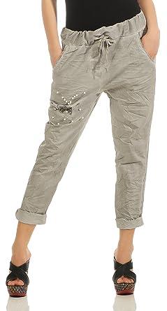 S M L XL 36 38 40 42 Damen Hose mit Taschen beige Stoffhose Gr
