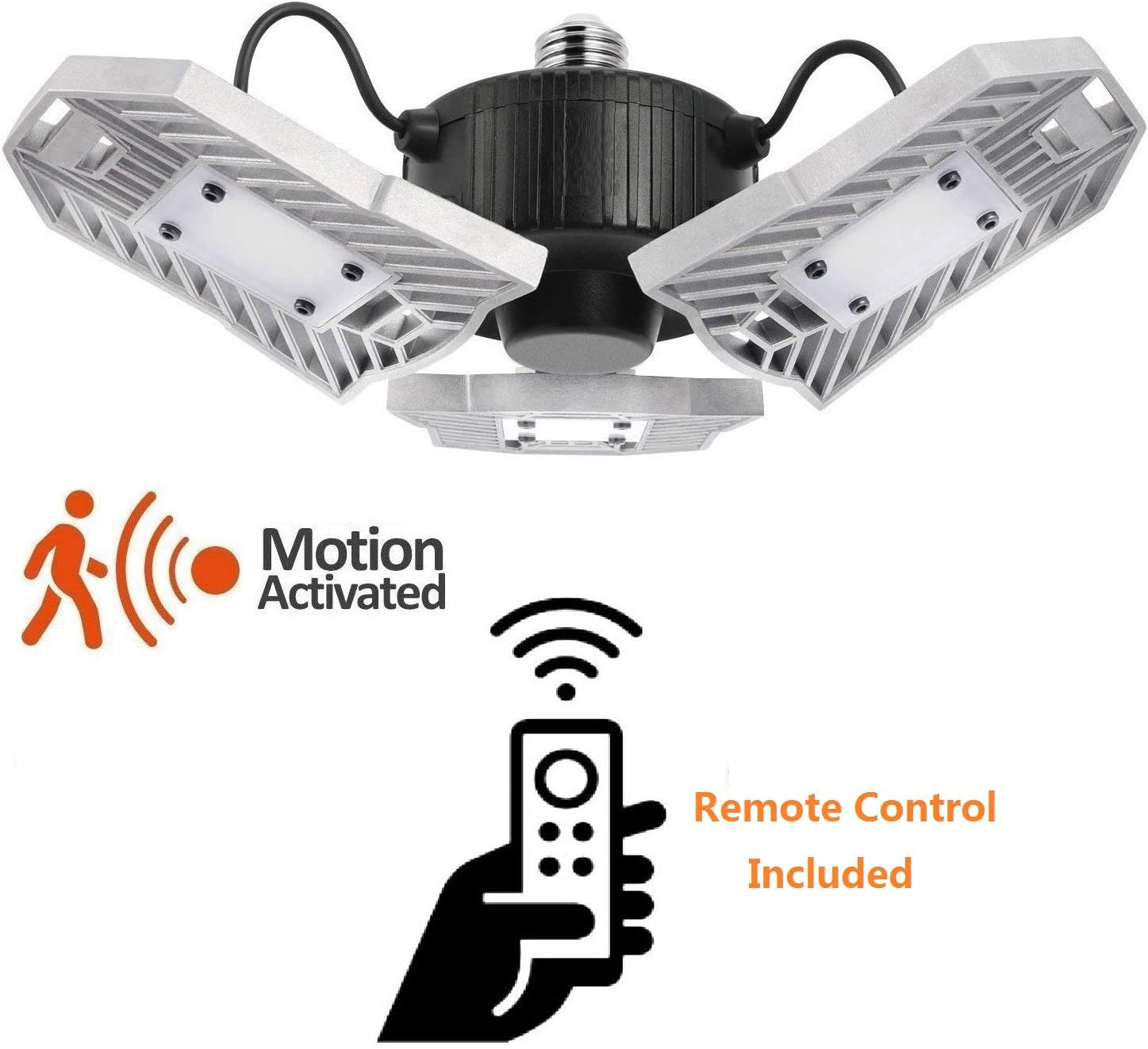 60W Motion Activated LED Garage Light with Remote Controller, Holding Time & Sensitivity Adjustable with Photocell for Garage Ceiling Lighting Fixture 6000K,Daylight