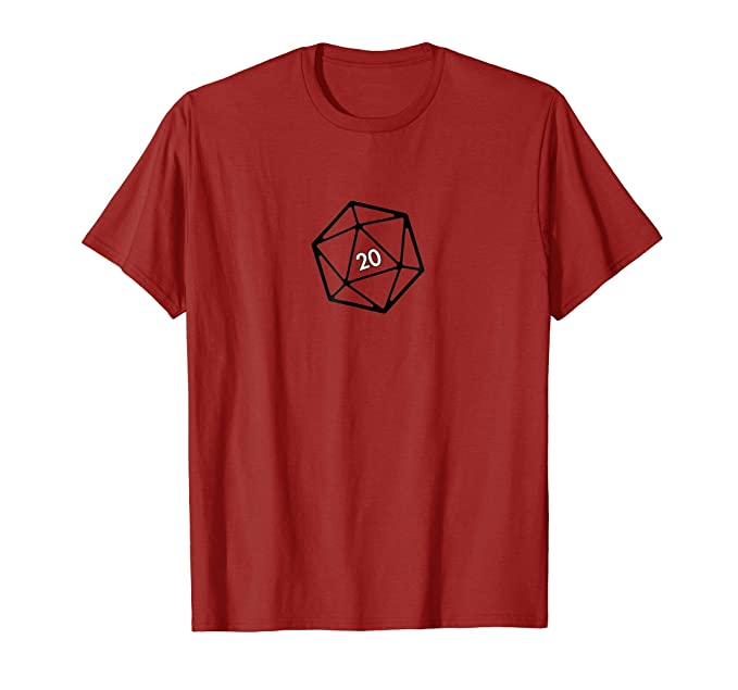 1871c9023218 Amazon.com: 20 Sided Dice GAMER D20 Die T-Shirt: Clothing