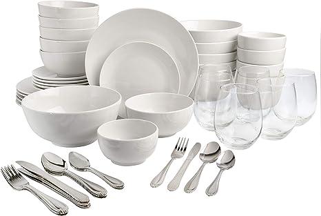 Gibson All U Need 60 Pc White Dinnerware Combo Set Service For 6 Includes Dinnerware Flatware Glassware Dinnerware Sets