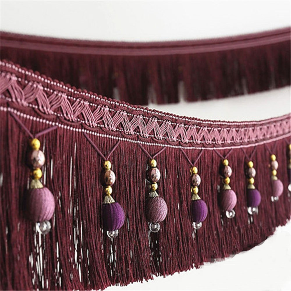 2yard Briaded Beads Hanging Ball Tassel Fringe Trimming Applique Fabric Trimming Ribbon Band Curtain Table Wedding Decorated T2582a Brown