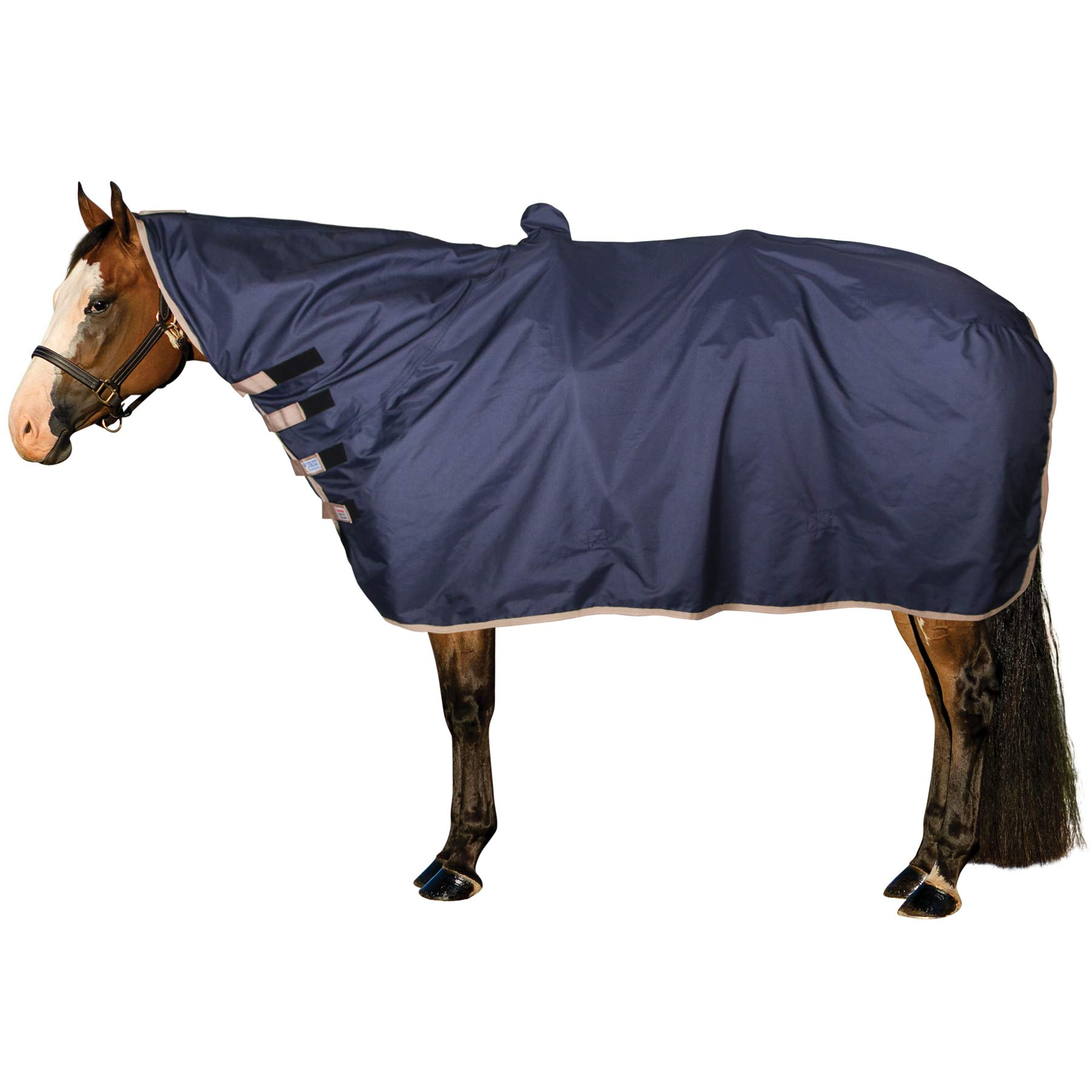 Schneiders Saddlery Dura-Tech Waterproof Contour Horse Show Cover Rain Sheet (Large, Navy)