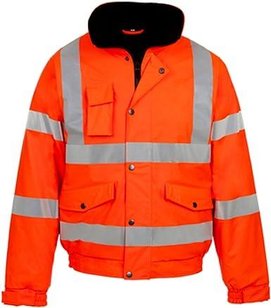 Chaqueta bicolor de alta visibilidad con bandas reflectantes para hombre para uso profesional con capucha homologada conforme a la norma EN 471 impermeable acolchada de seguridad