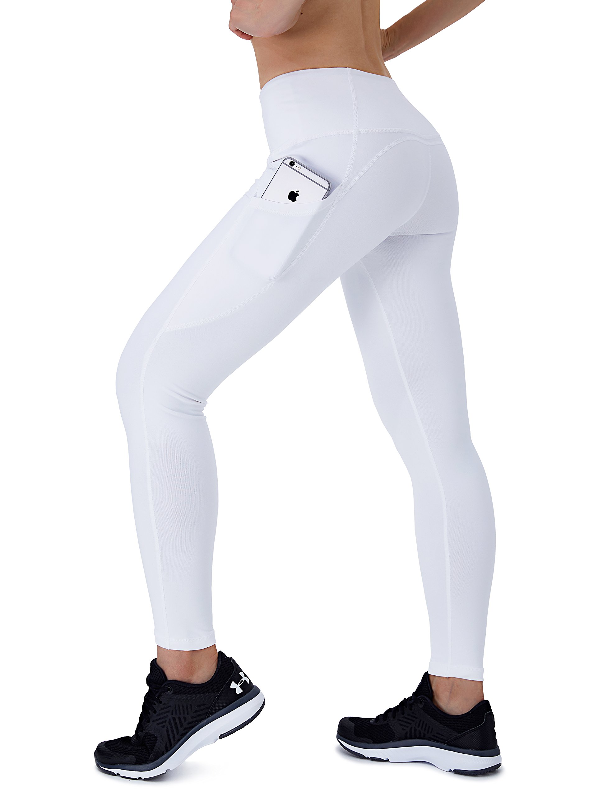 Dyorigin Leggings for Women – High-Waisted Tummy Control Compression Yoga Leggings Athletic Pants with Pockets (White XS)