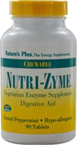 NaturesPlus Nutri Zyme - 90 Chewable Tablets, Peppermint Flavor - Vegetarian Enzyme Supplement with Bromelain & Papain, Natural Digestive Aid - Gluten-Free - 45 Servings
