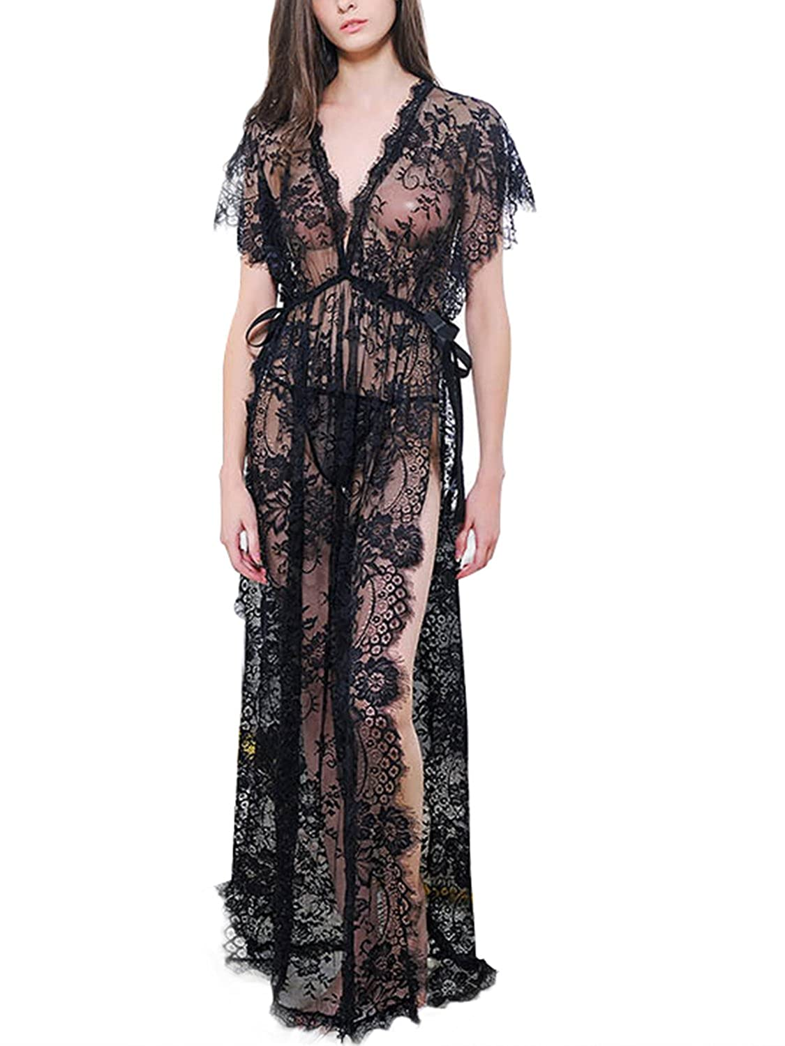 Amazon.com  CHARLES RICHARDS Women s Lingerie for Women Sexy Long Lace  Dress Sheer Gown See Through Kimono Robe  Clothing fc71bc0d6