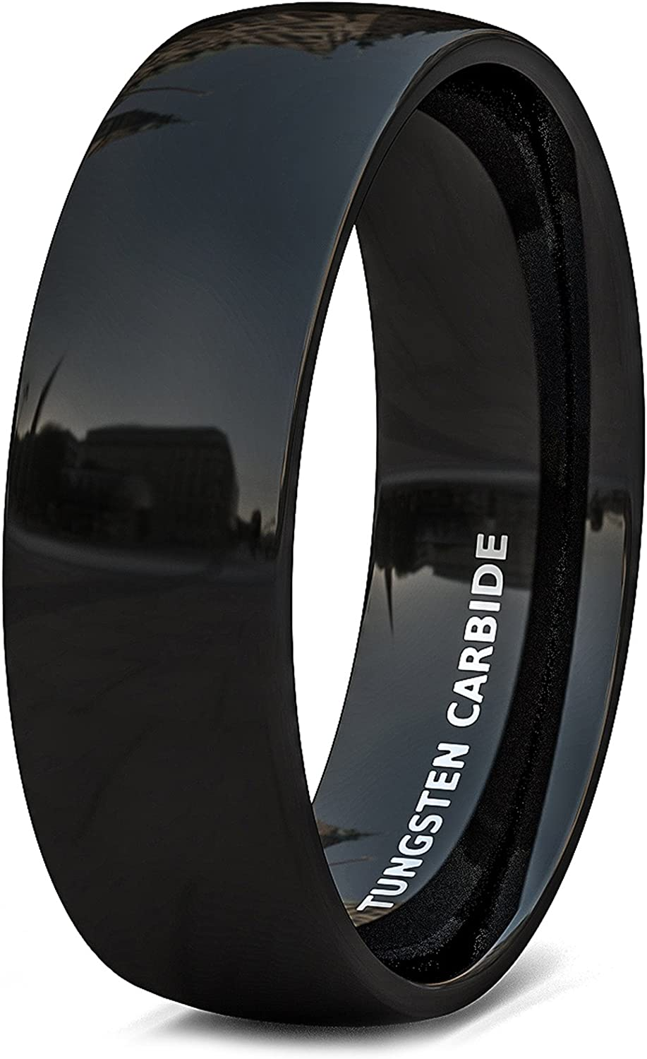 Duke Collections Mens Wedding Band 6mm Solid Black Polished Tungsten Ring Dome Shape Comfort Fit