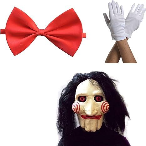 Máscara Saw Jigsaw con Pelo sintético + Corbata de moño + Guantes ...