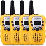FLOUREON 4 Packs 22 Channel Walkie Talkies Two Way Radios 3000M (MAX 5000M open field) UHF lLong Range Handheld (Yellow x 4)