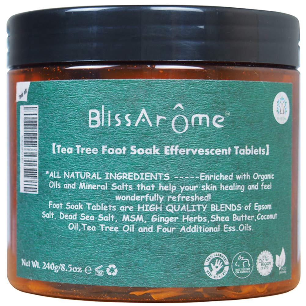 Tea Tree Oil Foot Soak Bombs Tablets for Athletes Foot Soaking with Tea tree oil and more, Foot Spa Bath Pedicure Tools and Toenail fungus, Soothes Dry Calloused Heels - 8.5oz,30 Tablets by Blissaroma