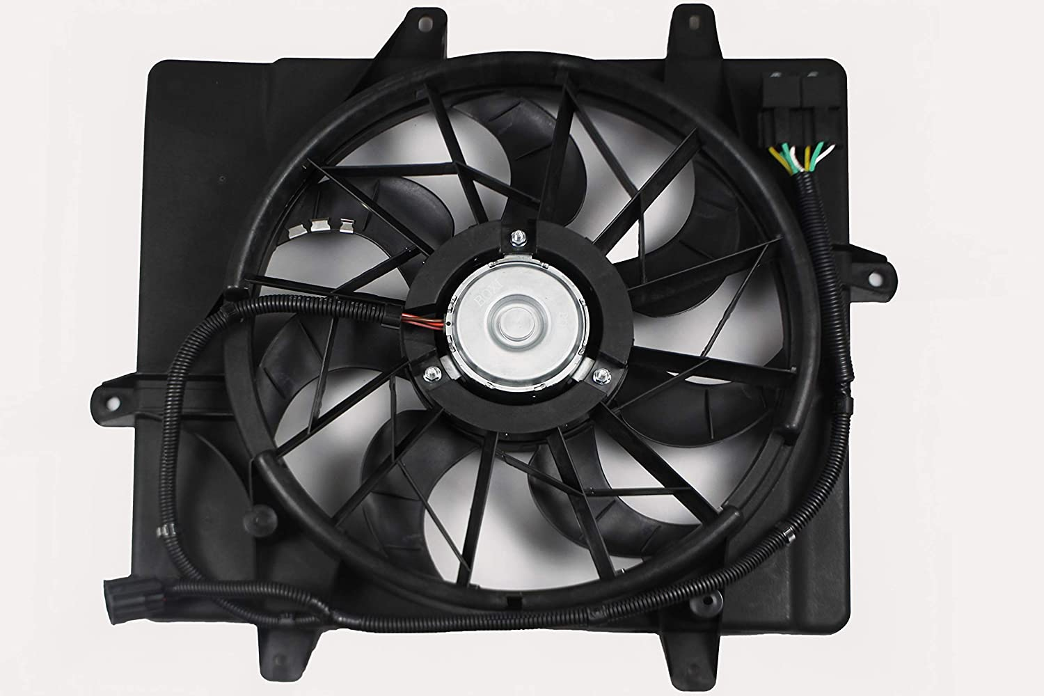 BOXI Radiator Cooling Fan Assembly For 2006 2007 2008 2009 2010 Chrysler PT Cruiser with 4-Pin Connector (excluding Turbo Models) 5179470AA