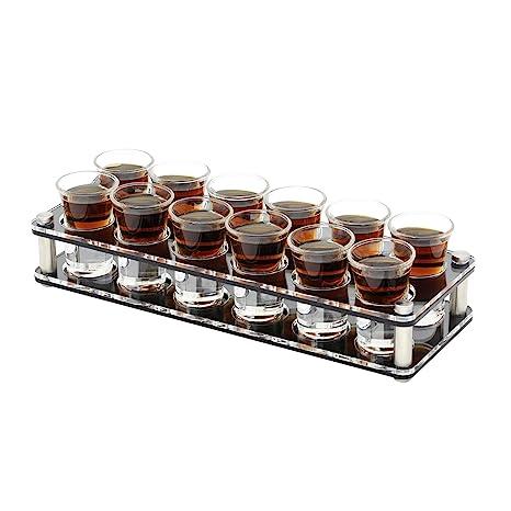 D&Z 12 Set Shot Glass with Acrylic 4 Tier 2 Row Wine Rack for Barware,