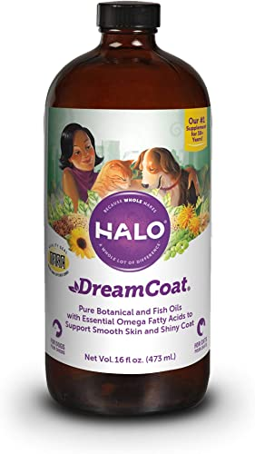 Halo Dream Coat Natural Omega Fatty Acids Supplement for Dogs Cats, 16-Ounce Bottle
