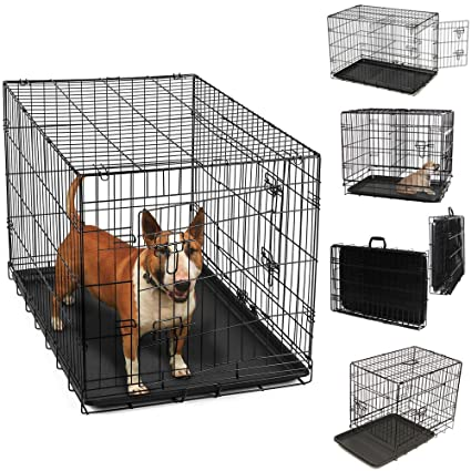 Amazon 36 Dog Crate 2 Door Wdivide Wtray Fold Metal Pet