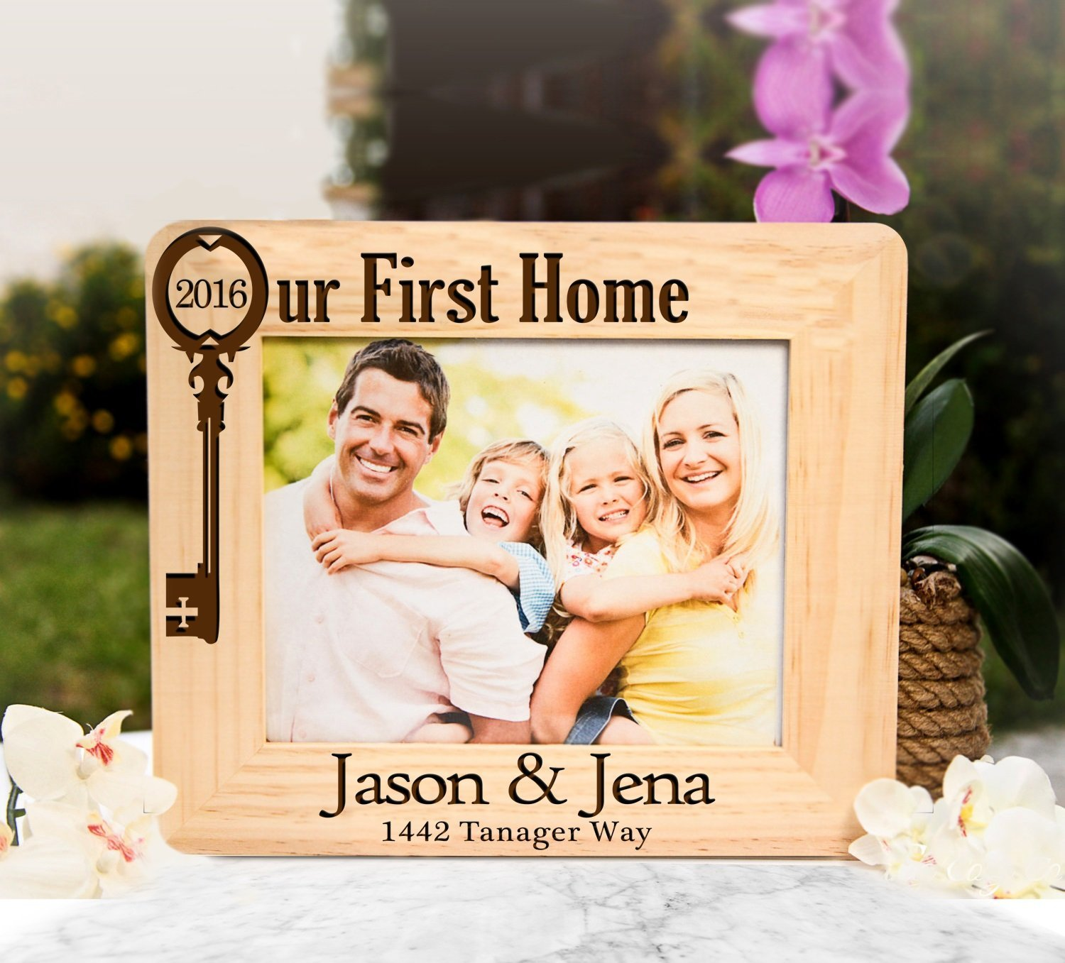 Amazon photo frames handmade products personalized picture frame our first home jeuxipadfo Image collections