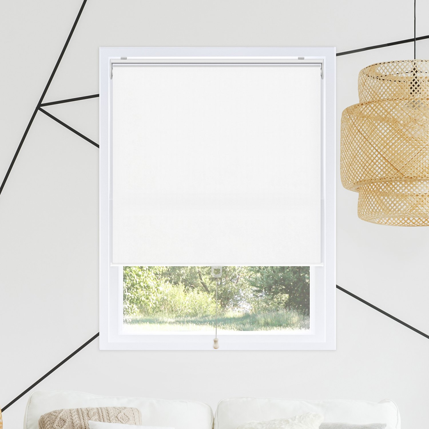 Chicology Cordless Roller Shades Snap-N'-Glide, Blackout Window Treatments Perfect for Living Room/Bedroom/Nursery/Office and More.Byssus White (Room Darkening), 35''W X 72''H by CHICOLOGY