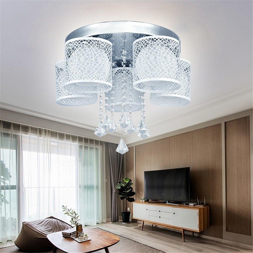 MCTECH® 36W Kristall Deckenleuchte Hängeleuchten Wohnzimmer 5 flammig Kristall LED E27 RGB Deckenlampe Wandlampe Hängelampe Luster Pendelleuchten Weiß (36W Kaltweiß 5 flammig)