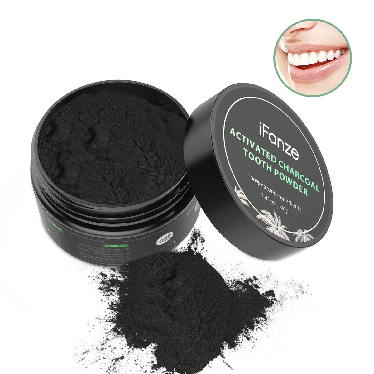 Activated charcoal powder teeth, coconut charcoal teeth whitening, iFanze Teeth whitening charcoal powder, dental care whitening products - 100% Natural, No chemical additives, Activated charcoal teet