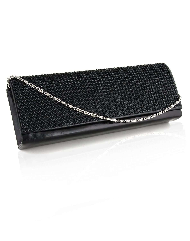 Sparkly Textured Designer Clutch Evening Bag for Women Metal Clasp Fastening