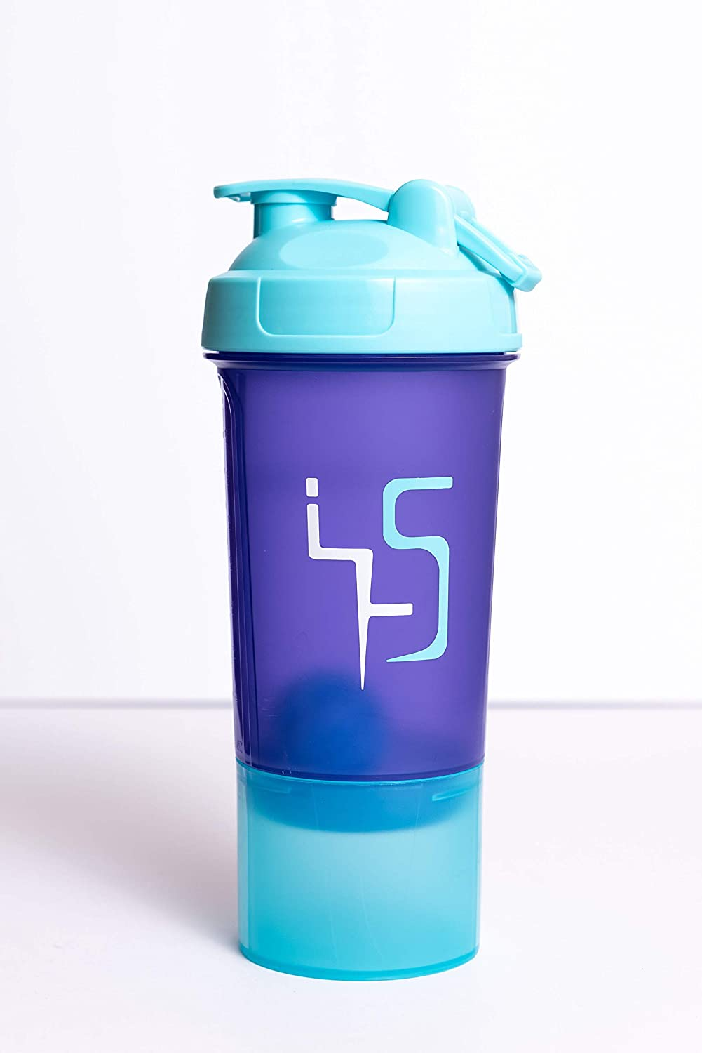 X-MIX Shaker Bottle, Protein Blender for Athletes, Leak Proof Lid Mixer Cup, Purple/Blue Protein Shake, Water Bottle, 500 ml / 20 oz with 150 ml / 6 oz Storage for Protein Powder & Gym Supplements