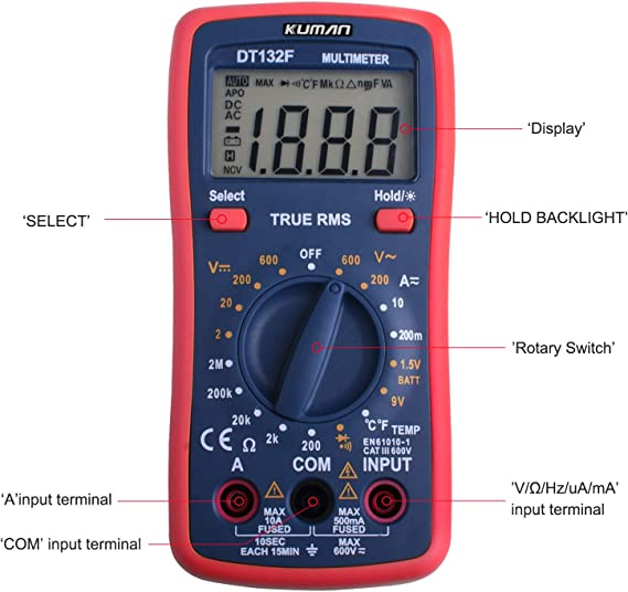 Kuman Multimeter Pocket Digital Multi Tester Voltmeter Ammeter Ohmmeter AC//DC Voltage Current Resistance Diodes Temperature Audible Continuity with Backlight LCD for Electronic Test DT132F