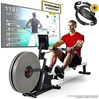 Sportstech 2in1 Máquina de Remo Profesional -Marca de Calidad Alemana- Eventos en Directo & App multijugador & 16x níveles Sistema frenado Aire Magnético, 16 programas, RSX600, Plegable + pulsómetro