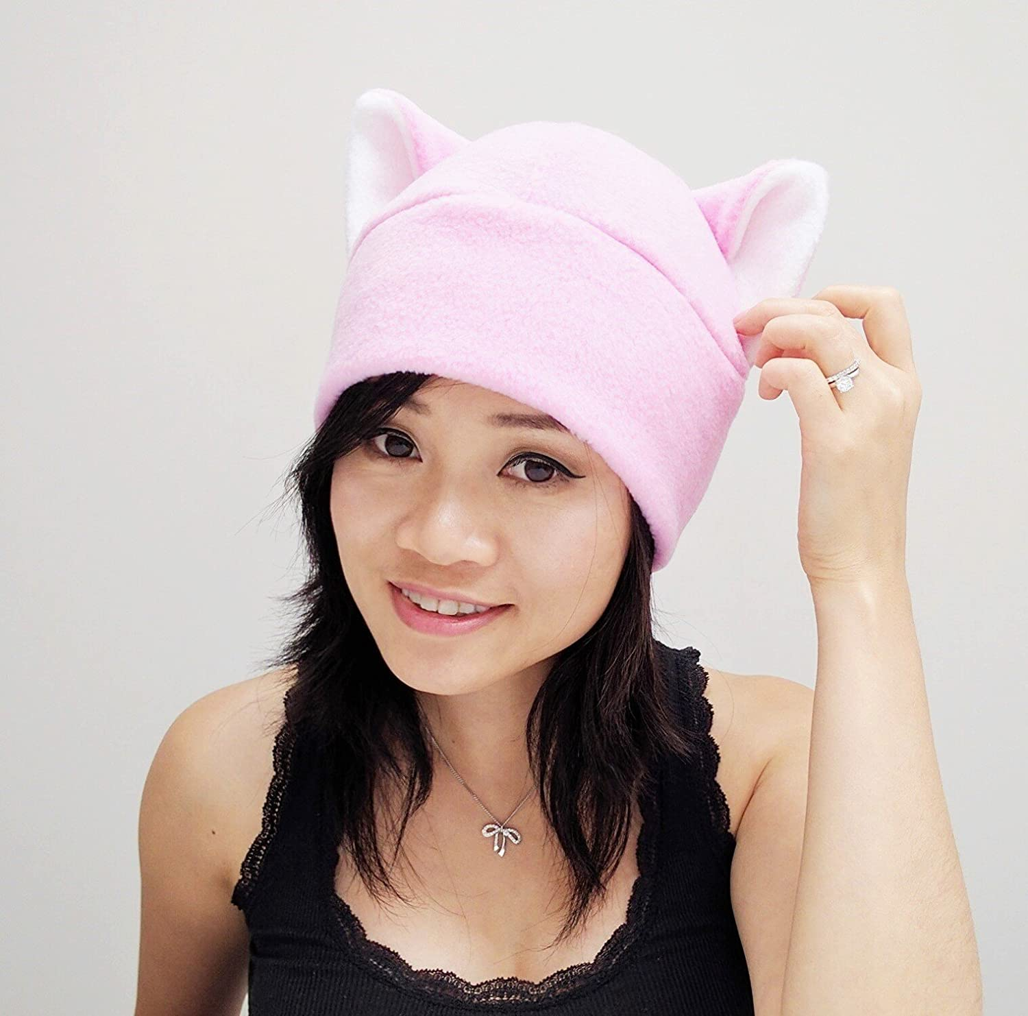 Pink pussy hat, Pussy Hat, Pussy cat hat, Pink Pussy Hats, Pussy Beanie Hat, Cat ear Hat, Pink Cat Ear Hat Toque Beanie Feline Kitty Kitten Fleece Anime Manga Goth Punk Rave clubbing Costume Cosplay