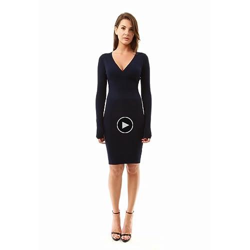 8f269802bb PattyBoutik Women s V Neck Long Sleeve Knit Dress on sale ...