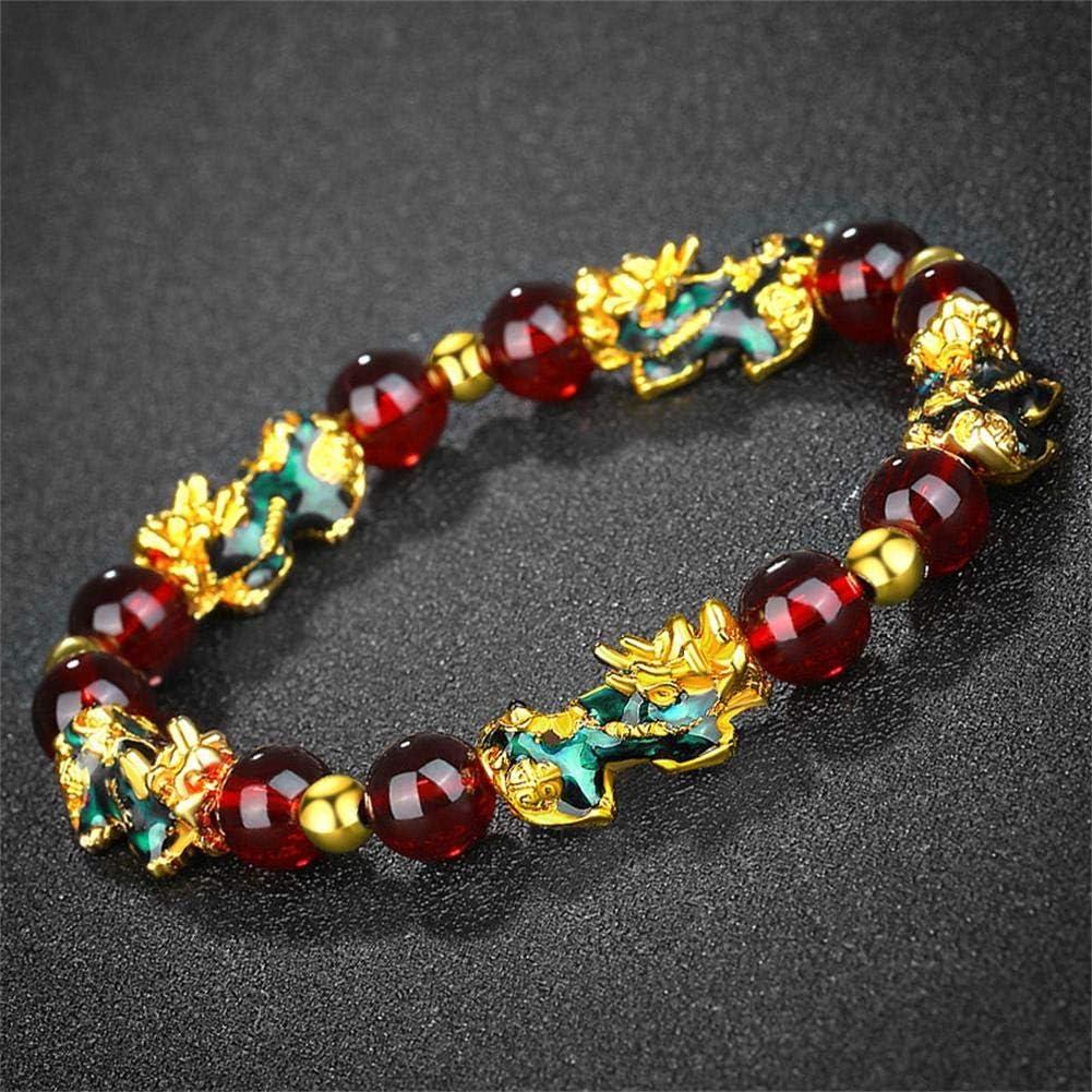 4 Pcs Colorful Pi Xiu Pi Yao Bracelet Set Feng Shui Lucky Wealth Bead Bracelet Hand Carved Amulet Bead Bracelet Set Dainty Rainbow Beaded Bracelet for Women Girls Jewelry