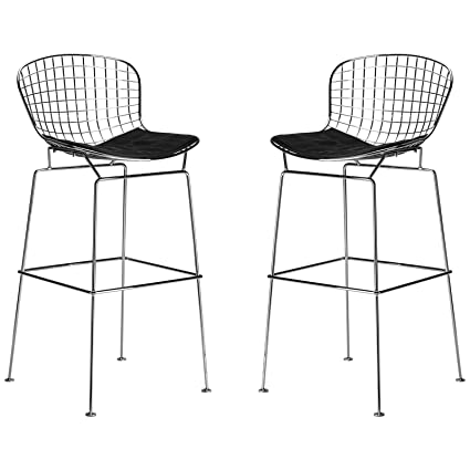 Astounding Poly And Bark Bertoia Style Wire Bar Stool In Black Set Of 2 Beatyapartments Chair Design Images Beatyapartmentscom