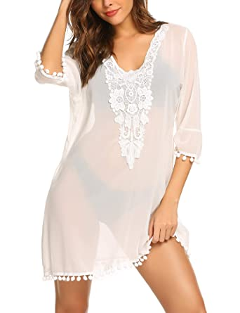 3eecb2e7c8 MAXMODA Womens Super Cute Chiffon Swimsuit Cover Ups Dress Sheer ...