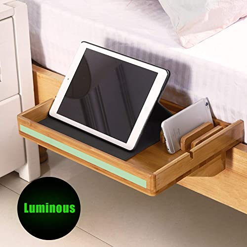 MallBoo Natural Bamboo Simple Bedside Shelf with Built in Night Self-Illuminating Tape- Used for Children s Beds, Bunk Beds and Dormitory Beds,Organier for Phones, Tablet, Toys, Drink, Clock etc